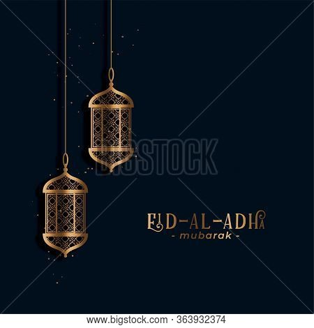Muslim Holiday Eid Al Adha Greeting With Golden Lamps Design Illustration