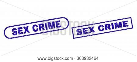 Blue Rectangle And Rounded Sex Crime Seal. Flat Vector Distress Seal Stamps With Sex Crime Caption I
