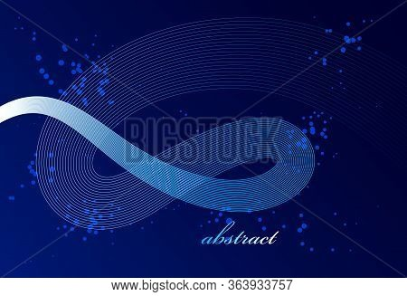 Abstract Elegant Blue Curvy Thin Lines Vector Abstract Background, Elegant Light Stripy Design Eleme