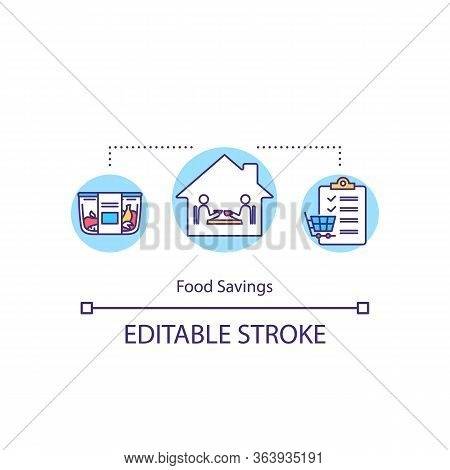 Food Savings Concept Icon. Products And Money Economy Tips Idea Thin Line Illustration. Food Preserv