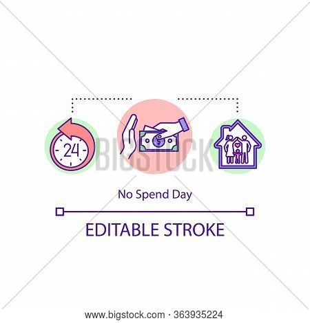 No Spend Day Concept Icon. Money Economy, Resource Efficiency Idea Thin Line Illustration. Cost Effe