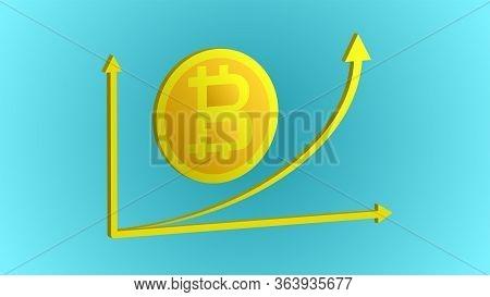 Beautiful Gold Expensive Shiny Bitcoin Cryptocurrency Coin Technology Blockchain And Upward Financia