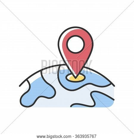 Location Rgb Color Icon. Gps Marker On Planet. Global Position Tracking. International Travel Destin
