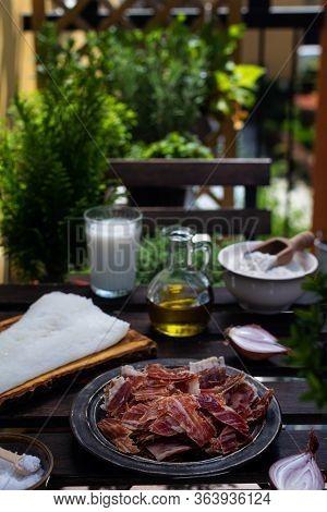 Ingredients For Traditional Spanish Croquettes, Croquetas, Jamon Ham, Milk, Flour, Olive Oil, Cod Fi