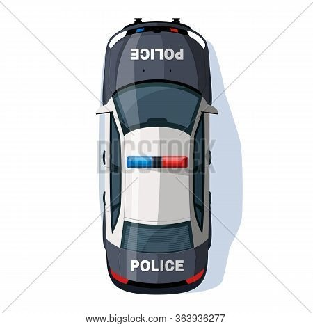 Police Car Semi Flat Rgb Color Vector Illustration. Security Vehicle With Siren Lights. Police Enfor