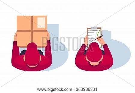 Delivery Man Position Flat Vector Illustrations Set. Postman Check Document On Clipboard. Guy Hold C