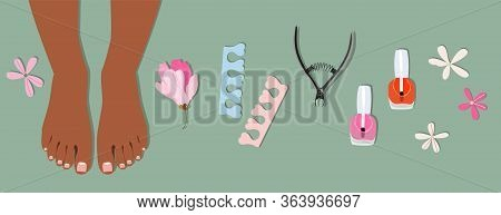 Female Feet And Pedicure Element Set. Isolated Trendy Hand-drawn Vector Collection. Manicure And Ped