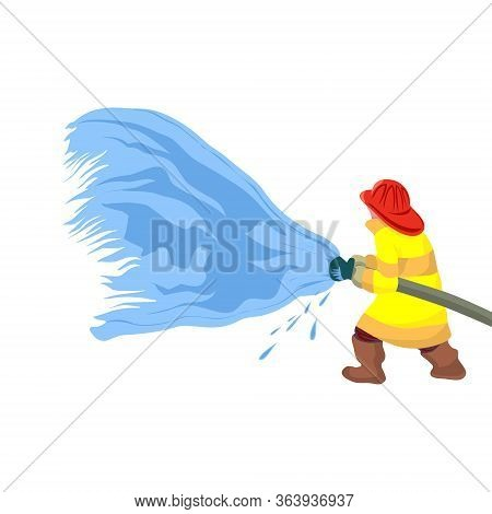 Fireman Extinguishes The Fire By Spraying The Water. He Is Clothed In A Protective Uniform.