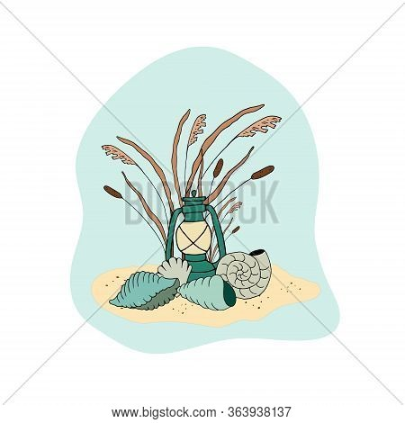 Vector Composition With The Image Of An Old Lamp, Reeds, Shells On The Sand. Design For Printing On