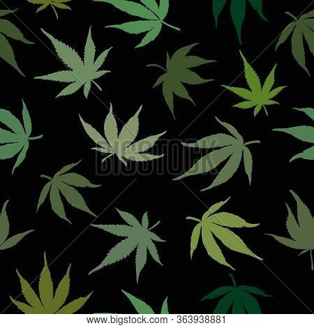 Seamless Pattern Of Green Cannabis Leaves On A Black Background. Green Hemp Leaves On A Black Backgr