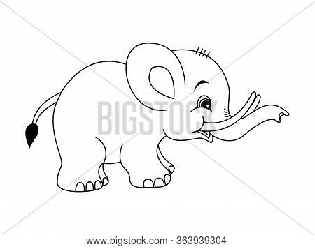 Vector Illustration Of Baby Elephant Cartoon,very Cute Baby Elephant Standing.outlined For Coloring