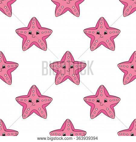 Colored Cartoon Seamless Pattern. Sea Starfish. Cartoon Style. Hand Drawn. Vector Illustration Isola