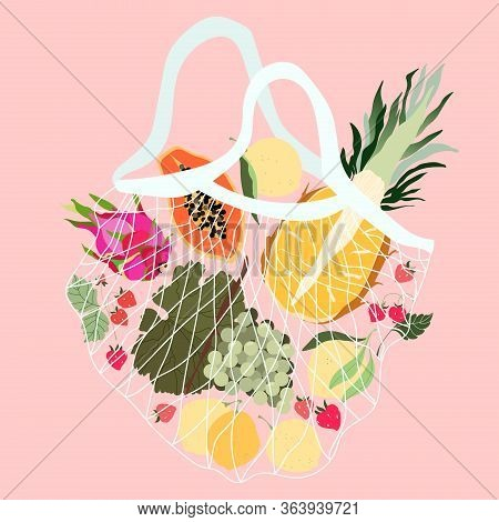 Fruits In A Mesh Bag. Variety Of Fresh Tropical Fruits In A Reusable Eco Bag. Pineapple, Grapes, Dra