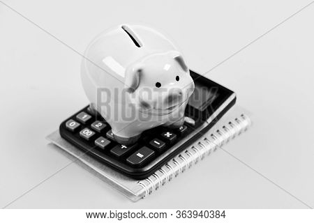 Piggy Bank Pink Pig And Calculator. Accounting And Family Budget. Accounting Business. Piggy Bank Sy