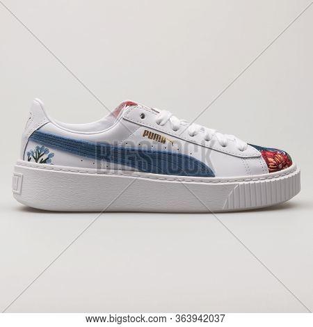 Vienna, Austria - February 19, 2018: Puma Platform Hyper Embellished White And Blue Sneaker On White