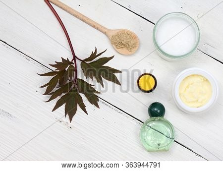 Ingredients For Homemade Facial Mask. Coconut Oil, Shea Butter, Essential Oil And Bentonite Clay On