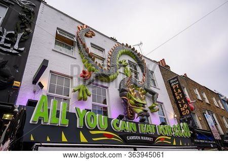 London - September 30, 2019: Elaborately Decorated Shop Fronts On Camden High Street