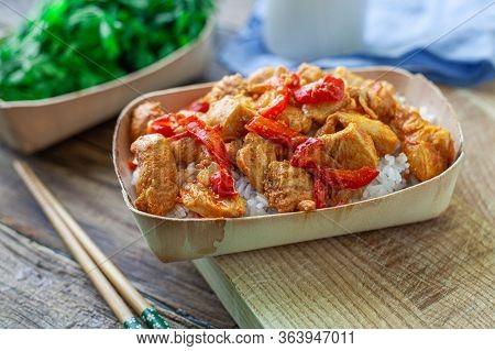 Chicken Chili Curry With Basmati Rice On Bambu Bowl