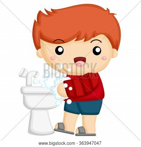 Little Boy Wash His Hands At The Sink