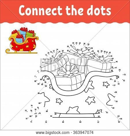 Dot To Dot Game. Draw A Line. Christmas Sleigh Santa Claus With Gifts. For Kids. Activity Worksheet.