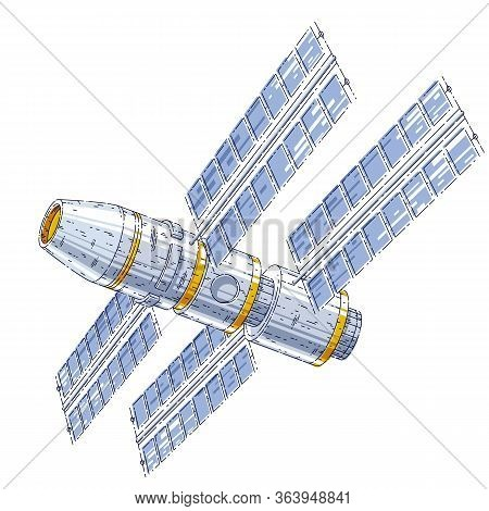 Space Station Iss Floating In Weightlessness In Open Space, Spacecraft Artificial Satellite, Science