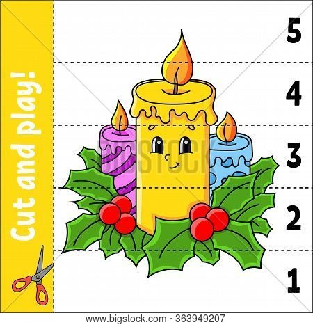 Learning Numbers 1-5. Cut And Play. Christmas Candles. Education Worksheet. Game For Kids. Color Act