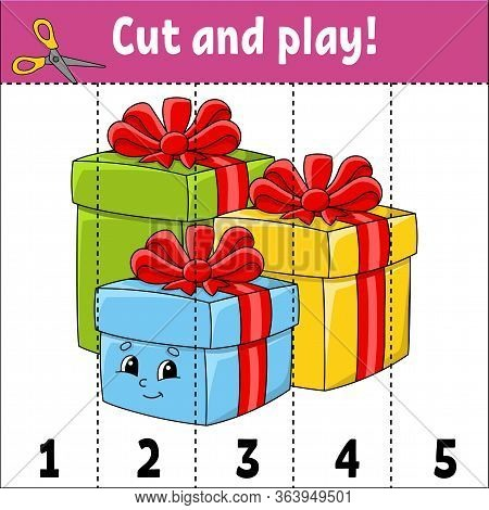 Learning Numbers 1-5. Cut And Play. Holiday Gifts. Education Worksheet. Game For Kids. Color Activit