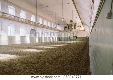 Royal Manege With Sand For Horses In Denmark Copenhagen February 20, 2019. Territory Christiansborg