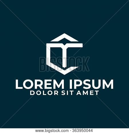 Initial Letter Ct Or Tc Logo Template With Modern Hexagonal Line Art Symbol In Flat Design Monogram