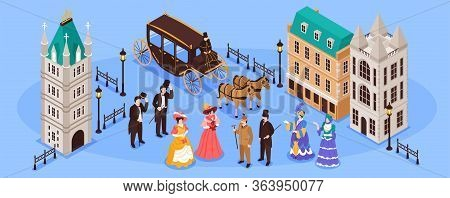 Victorian Era Horizontal Poster With Residents Of Old Town And Carriage Pulled By Two Horses Isometr