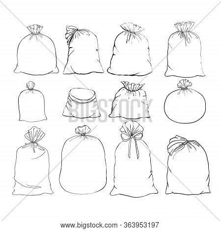 Canvas Sack Vector. Canvas Bag. Illustration Of A Canvas Sack. Set Canvas Sack