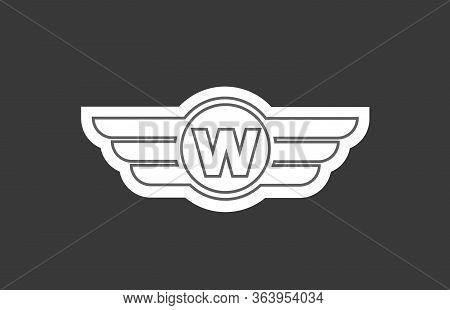 W Alphabet Letter Logo Icon For Company And Business With Stripes Design