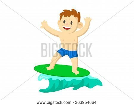 Happy Young Surfer Boy On The Crest Wave. Flat Vector Illustration, Isolated On White Background.