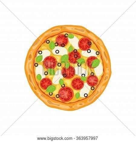 Margarita Pizza. Italian Whole Pizza With Tomato And Mozzarella. Vector Illustration