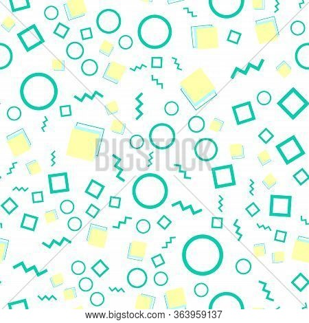 Doodle Fun Pattern. Seamless Background. Summer Doodle Backdrop. Seamless 90s. Memphis Pattern. Vect