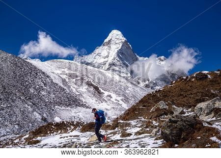 Mount Ama Dablam In Himalayas South Of Mount Everest