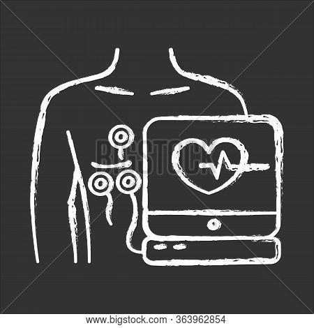 Electrocardiogram Chalk Icon. Heart Disease Examination. Pulse On Screen. Cardiology, Cardiograph. M