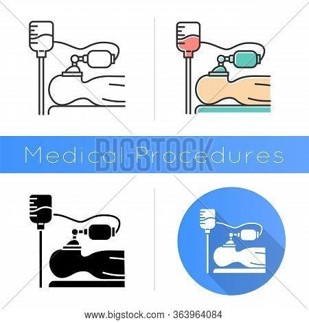 Anesthesia Icon. Medical Procedure. Apnea Stage. Liquid Induction. Patient Unconscious. Dropper. Dis