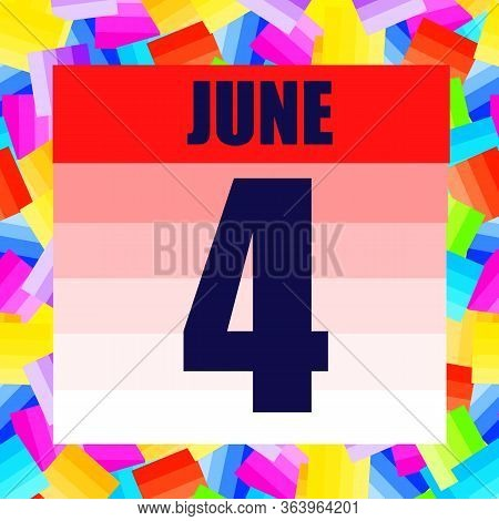 June 4 Icon. For Planning Important Day. Banner For Holidays And Special Days. Fourth June Illustrat