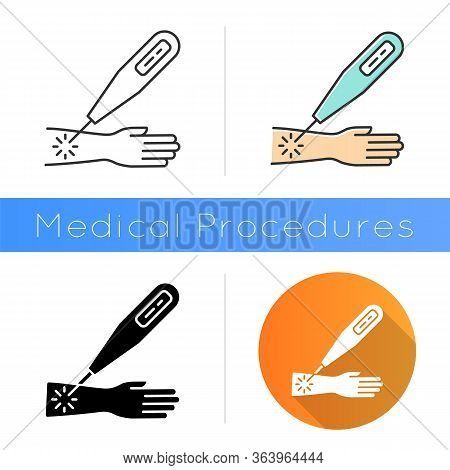 Laser Therapy Icon. Medical Surgical Procedure. Healthcare Services. Cure Disease, Illness Aid. Inju