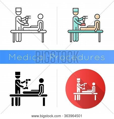 Prosthetics Icon. Medical Procedure. Doctor, Patient. Amputee With No Limb. Leg Prosthesis. Injury T