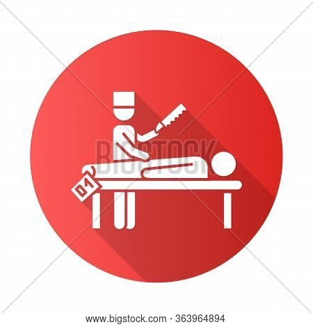Autopsy Red Flat Design Long Shadow Glyph Icon. Disambiguation. Deceased Patient. Corpse With Tag. B