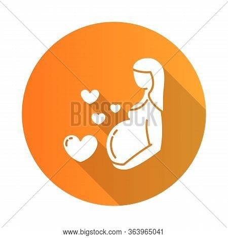 Pregnancy Care Orange Flat Design Long Shadow Glyph Icon. Prenatal Period. Motherhood. Expecting Bab