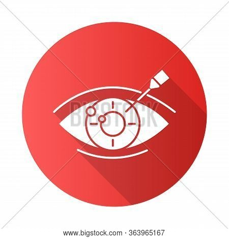 Vision Correction Red Flat Design Long Shadow Glyph Icon. Medical Procedure. Health Care. Astigmatis