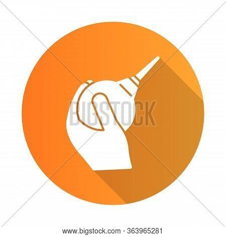Lavement Orange Flat Design Long Shadow Glyph Icon. Enema. Clyster. Medical Nonsurgical Procedure. C