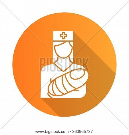 Pediatrics Orange Flat Design Long Shadow Glyph Icon. Nurse With Baby. Doctor Carrying Infant. Child