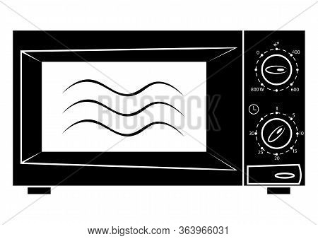 Microwave Icon. Microwave Symbol In Glyph Style And Empty Inside, Icon For Website Design, Mobile Ap
