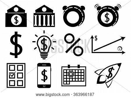 A Set Of Business And Finance Icons. Flat Design. Pension Payment, Money Deposit. Bank Deposit. Save