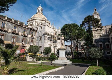 Catania, Sicily - February 12, 2020: Fede Statue (sculpture Of Faith) From 19th Century In Floretta