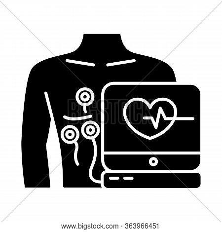 Electrocardiogram Glyph Icon. Heart Disease Examination. Pulse Rate On Screen. Cardiology, Cardiogra